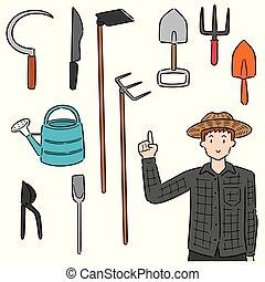 vecteur, équipement, ensemble, jardinage, jardinier