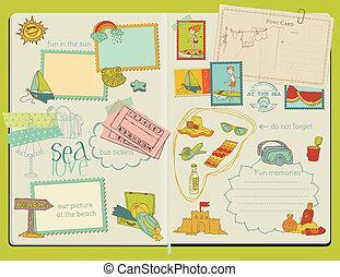 vecteur, été, éléments, bloc-notes, -, remettre ensemble, conception, album, dessiné, plage