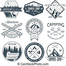 vecteur, été, concept, illustration., camping, vendange, étiquettes, camp, extérieur, ensemble, aventure, style.