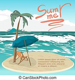 vecteur, été, concept, paumes, île, espace, fond, text., vacances, privé, plage., plat, mer, petit, plage, dessin animé, paysage, illustration.