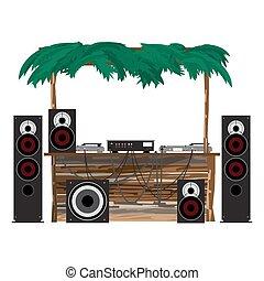 vecteur, été, ensemble, console, plateaux tourne-disques, party:, mélangeur, isolé, plat, disco, équipement, plage., illustration, bungalow., haut-parleurs, dj, subwoofer, dessin animé, bois