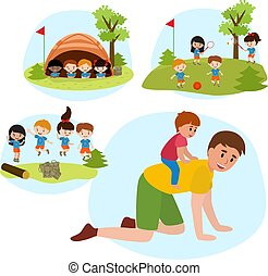 vecteur, été, football, camping, famille, plat, filles, tennis, fils, jouer, ferroutage, illustration.father, gosses, sauter, équitation, séance, parc, enfants, garçons, tente