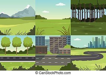 vecteur, été, illustration, arrière-plans, urbain, ...
