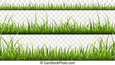 vecteur, été, pelouse, éléments, pré, nature, panorama, borders., isolé, herbes, ensemble, vert, printemps, herbe