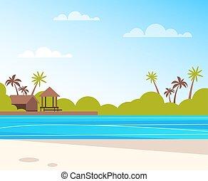 vecteur, été, plage., plat, île, voyage, isolé, illustration, vacances, graphisme, temps, concept., dessin animé, vide