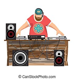 vecteur, été, sien, plage., dj, plateaux tourne-disques, party:, musique, isolé, équipement, disco, arrière-plan., ensemble, plat, illustration, danse, haut-parleurs, mélangeur, subwoofer, dessin animé