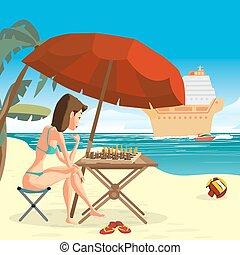 vecteur, été, umbrella., illustration., plat, elle-même, sous, jeune, paquebot, bikini, femme, échecs, mer, croisière, séance, jouer, plage, dessin animé, paysage