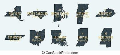 vecteur, état, hautement, cartes, 2, territoire, silhouettes, nicknames, détaillé, noms, ensemble, usa, 5