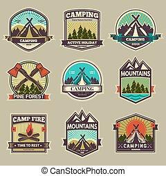 vecteur, étiquette, camp