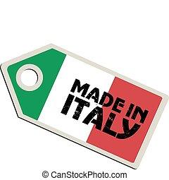 vecteur, étiquette, fait, dans, italie