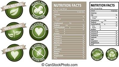 vecteur, étiquette nutrition, fait, paquet
