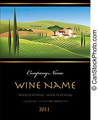 vecteur, étiquette vin