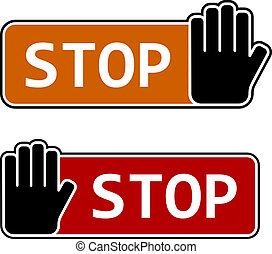 vecteur, étiquettes, arrêter geste, main