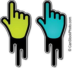 vecteur, étiquettes, indicateur, écoulement, main