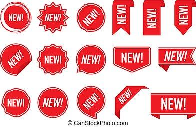 vecteur, étiquettes, isolé, illustration, fond, nouveau, blanc rouge