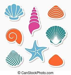 vecteur, étiquettes, mer, etoile mer, coquilles
