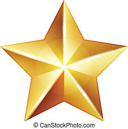 vecteur, étoile, or