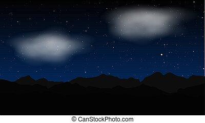 vecteur, étoile, paysage, nuit