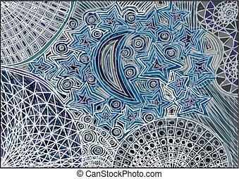 vecteur, étoiles, sketch., illustration, lune