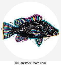 vecteur, être, eating., fish, silhouette, poisson sain, graphique, symbole., symbole, thème, utilisé, boîte, zoologie, dessiné, faune, main, marin, espèce, design.