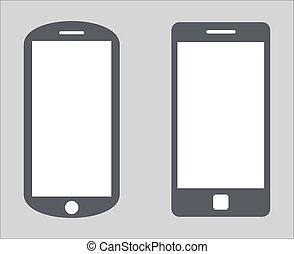 vecteur, 10, ensemble, silhouette, tablette, variété, mobile, écran, moderne, isolé, illustration, eps, pc, smartphone, noir, arrière-plan., vide, blanc, 1., icône