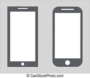 vecteur, 10, ensemble, silhouette, tablette, variété, mobile, écran, moderne, isolé, illustration, eps, pc, smartphone, noir, arrière-plan., vide, 2., blanc, icône