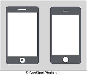 vecteur, 10, ensemble, silhouette, tablette, variété, mobile, écran, moderne, isolé, illustration, eps, pc, smartphone, noir, arrière-plan., vide, blanc, 3., icône