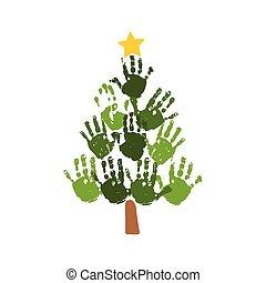 vecteur, 10, gosses, famille, art., star., arbre, isolé, jaune, noël, aquarelle, eps, crafts., illustration, handprints, blanc, acrylique, enfants, carte, design.