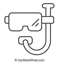 vecteur, 10., isolé, masque, toile, app., plongée, contour, illustration, conçu, conception, white., snorkel, scaphandre, ligne, mince, style, eps, icon.