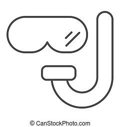 vecteur, 10., lunettes protectrices, isolé, masque, toile, app., plongée, contour, illustration, conçu, conception, white., snorkel, scaphandre, ligne, mince, style, eps, icon.