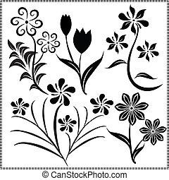 vecteur, 13, fleurs
