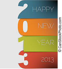 vecteur, 2013, année, nouveau, carte, heureux