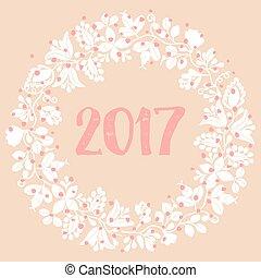 vecteur, 2017, couronne, blanc