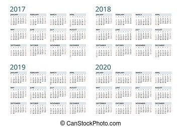 vecteur, 2020., 2018, débuts, 2019, 2017, calendrier, semaine, sunday., simple, design.