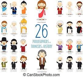 vecteur, 26, gosses, penseurs, grand, style., philosophers, ensemble, caractères, histoire, dessin animé, collection: