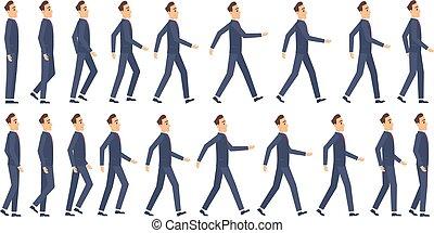 vecteur, 2d animation, jeu, animation., clã©, mascotte, marche, caractères, lutin, dessin animé, cadres, business
