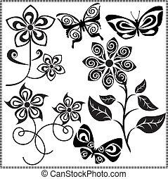 vecteur, 3, fleurs, conception