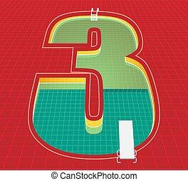 vecteur, 3, trois, nombre, arrière-plan., natation, rouges, illustration, character., tonalité, eps10, piscine