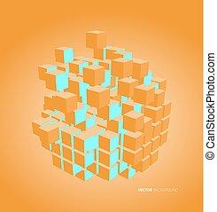 vecteur, 3d, illustration, cubes
