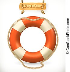 vecteur, 3d, lifebuoy, icône