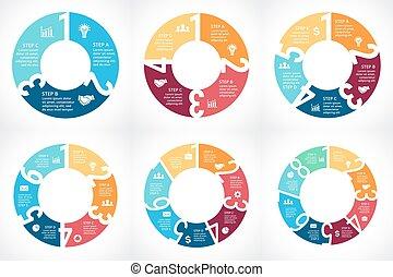 vecteur, 6, 7, flèches, 5, 4, infographic, nombres, 3, 2, 8, cercle, 1