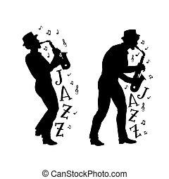 vecteur, 60, players., ou, impression, jazz, style, ...