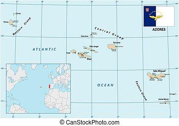 vecteur, açores, drapeau, océan, portugal, archipel, ...