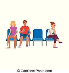 vecteur, aéroport, gens, chaise, séance