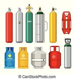 vecteur, acétylène, cylindres, pétrole, essence, métal, icons., isolé, objets, sécurité, butane, réservoir carburant, hélium, dessin animé