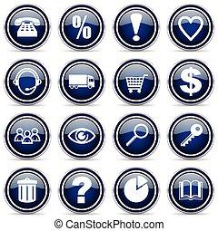 vecteur, achats, argent, icons., métallique