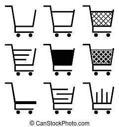 vecteur, achats, collection, charrette, icônes