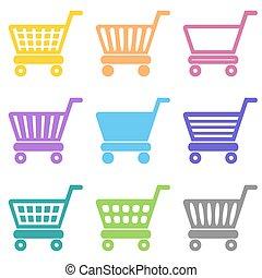 vecteur, achats, coloré, charrette, icônes
