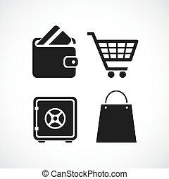 vecteur, achats, icône