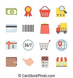 vecteur, achats, logistique, icônes